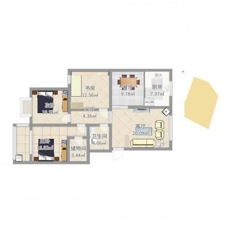 南湖文苑3室2厅1卫1厨89.03㎡户型图