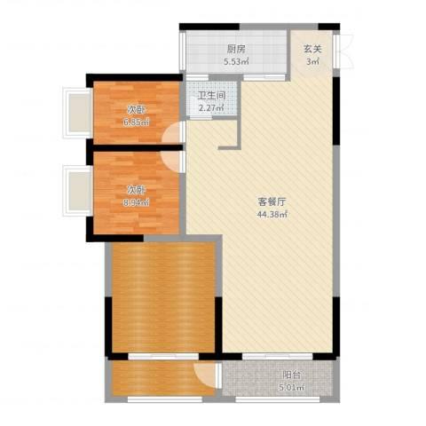 长欣中央广场2室2厅1卫1厨115.00㎡户型图