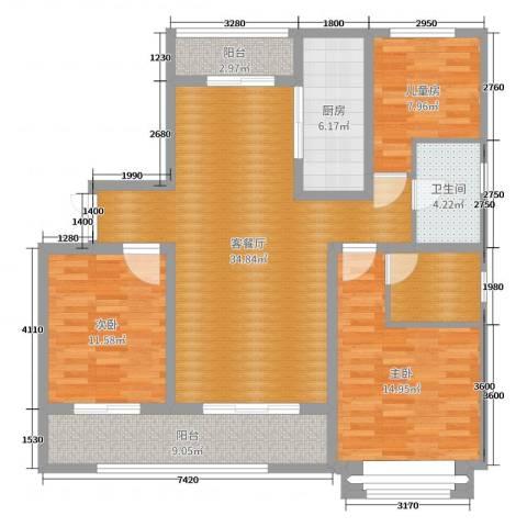 吴江中房颐园3室2厅1卫1厨120.00㎡户型图