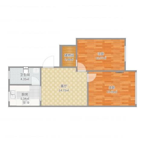 华灵路881弄小区2室1厅1卫1厨67.00㎡户型图