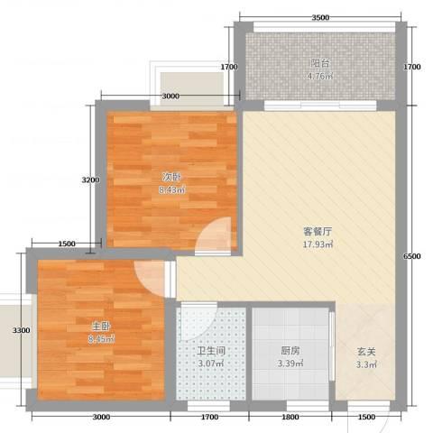 天源海景2室2厅1卫1厨65.00㎡户型图