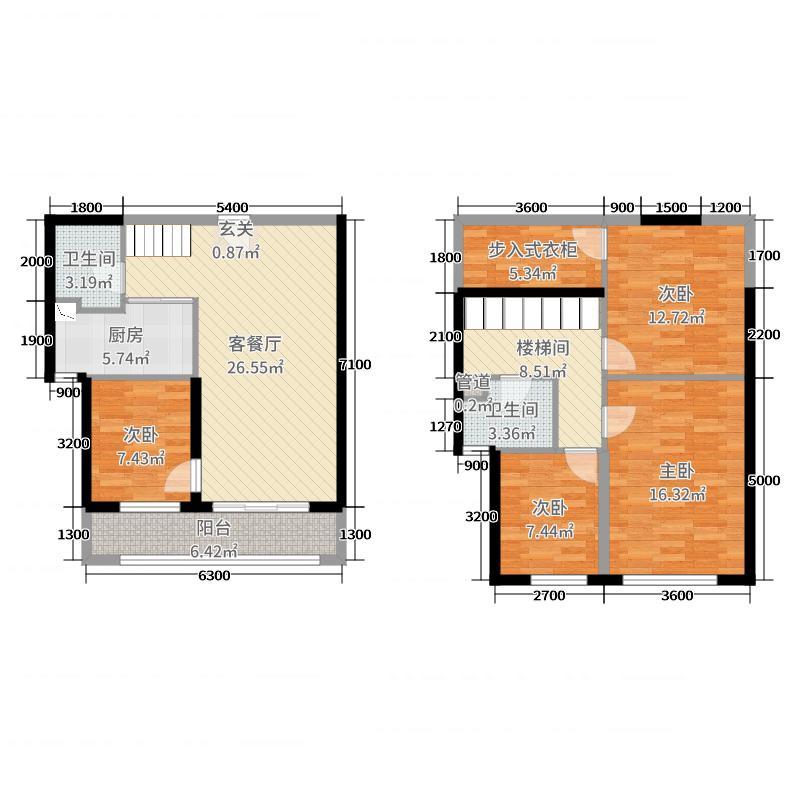 �к���93.00㎡10#E1户型4室4厅2卫1厨