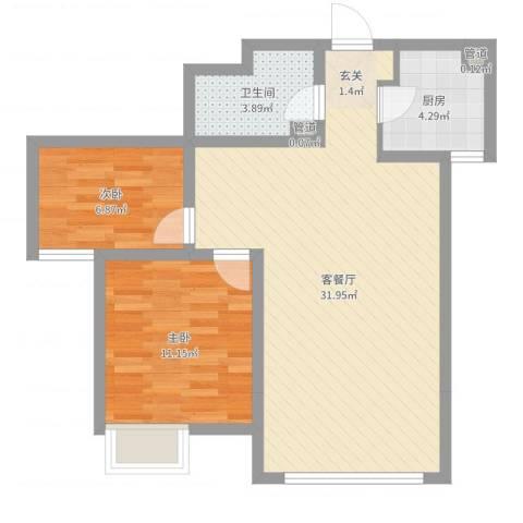 亿科公元20102室2厅1卫1厨73.00㎡户型图
