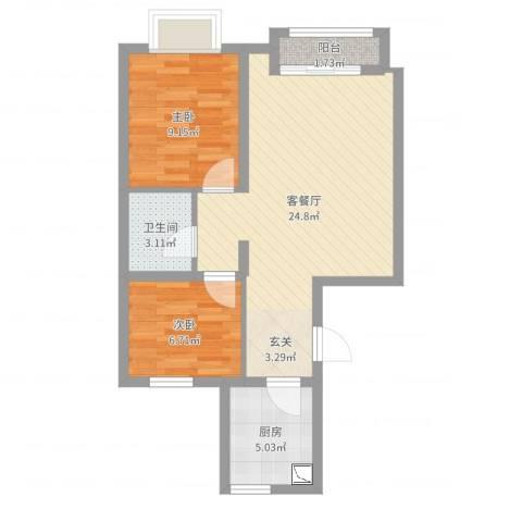 渤海豪庭2室2厅1卫1厨63.00㎡户型图