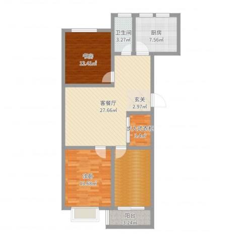 银枫家园2室2厅1卫1厨102.00㎡户型图