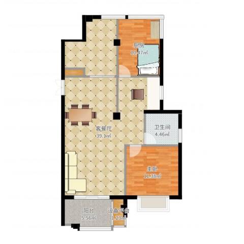 望湖公馆1室2厅2卫1厨104.00㎡户型图