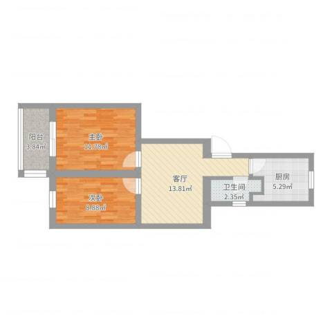 银城花园2室1厅1卫1厨62.00㎡户型图