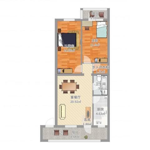芍药居北里2室2厅1卫1厨84.00㎡户型图