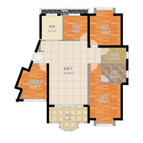 御峰臻品2室2厅1卫1厨136.00㎡户型图