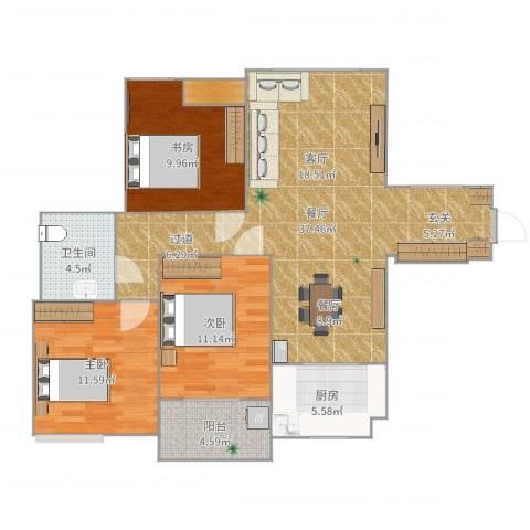 新城国际花都3室1厅1卫1厨109.00㎡户型图