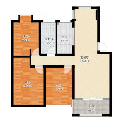 仁和英伦皇家花园3室2厅1卫1厨109.00㎡户型图