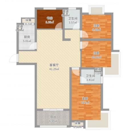 月星公馆4室2厅2卫1厨127.00㎡户型图