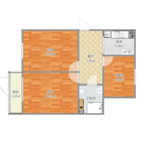 公主坟海军大院3室1厅1卫1厨67.00㎡户型图