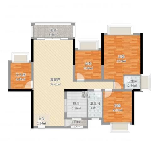 五洲家园3室2厅2卫1厨124.00㎡户型图