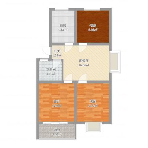 新景第3室2厅1卫1厨64.20㎡户型图