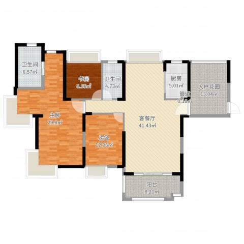 国贸天琴湾3室2厅2卫1厨163.00㎡户型图