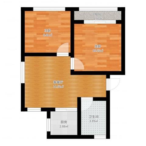花园铁路新村2室2厅1卫1厨52.00㎡户型图