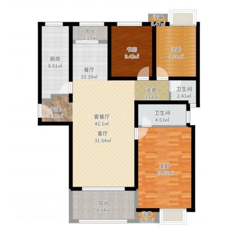 三星凤凰府3室2厅2卫1厨134.00㎡户型图