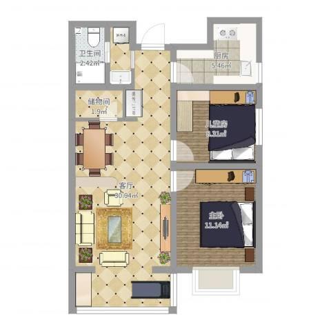 玉门小区2室1厅1卫1厨92.00㎡户型图