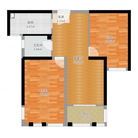 盛世新城2室2厅1卫1厨83.00㎡户型图