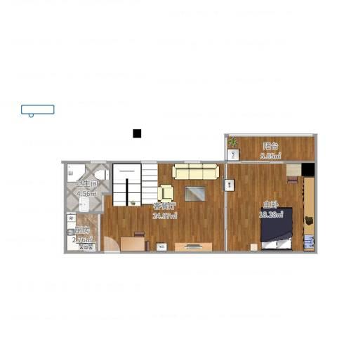 LOFTCC双禧1室2厅1卫1厨55.52㎡户型图