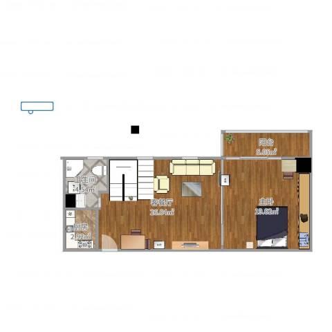 LOFTCC双禧1室2厅1卫1厨57.56㎡户型图