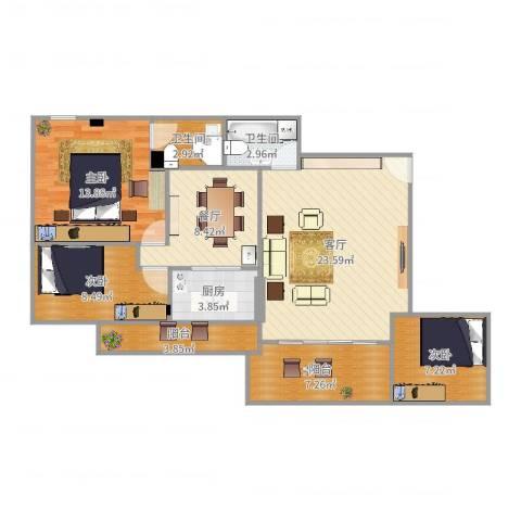 华森公园首府3室2厅2卫1厨103.00㎡户型图