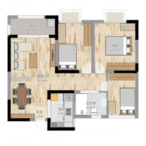 利港银河广场2室2厅1卫1厨88.00㎡户型图