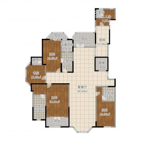 金大元御珑宫廷4室2厅4卫1厨318.00㎡户型图
