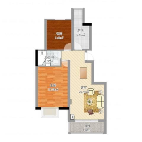 国信龙湖世家2室1厅1卫1厨68.00㎡户型图