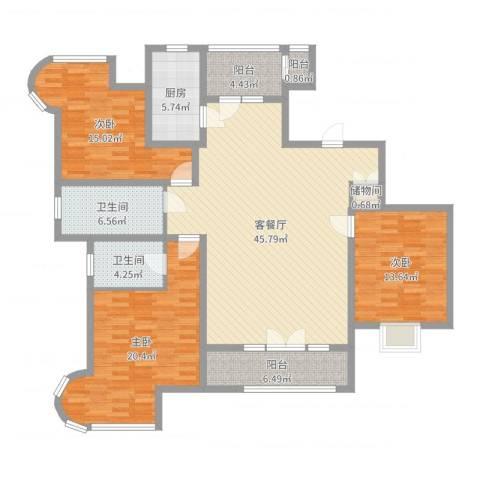 经纬绿洲滨海3室2厅2卫1厨155.00㎡户型图