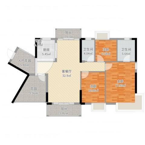 富盈御荷3室2厅2卫1厨107.71㎡户型图