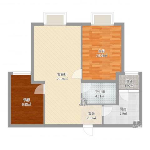 西原泓郡2室2厅1卫1厨81.00㎡户型图