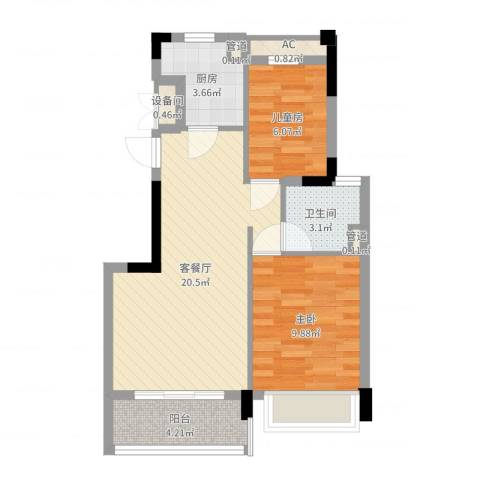 碧桂园凤凰城2室2厅1卫1厨61.00㎡户型图