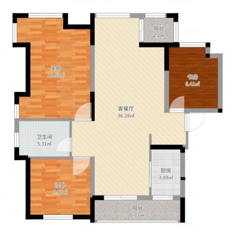 荣盛香堤荣府3室2厅1卫1厨112.00㎡户型图
