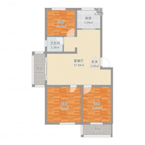 香江花园3室2厅1卫1厨122.00㎡户型图