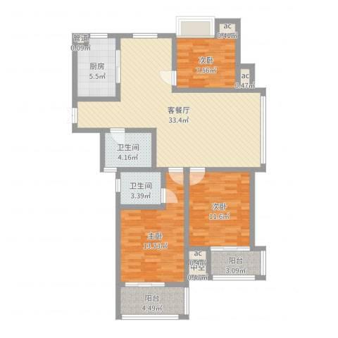 阳湖名城3室2厅2卫1厨111.00㎡户型图