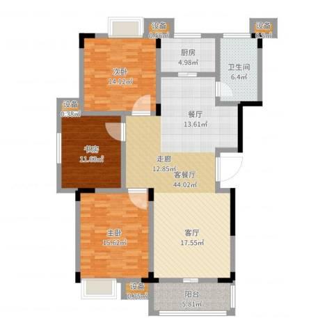 清华苑3室2厅1卫1厨104.77㎡户型图