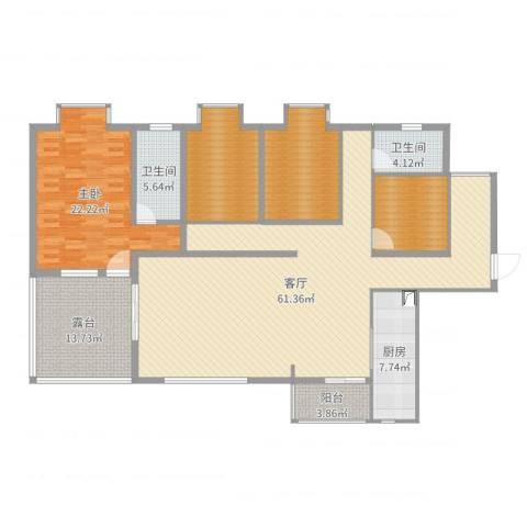 园林小区1室1厅2卫1厨185.00㎡户型图