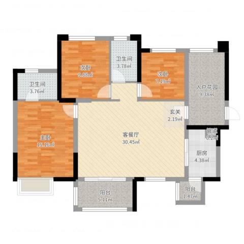 时代倾城3室2厅2卫1厨113.00㎡户型图