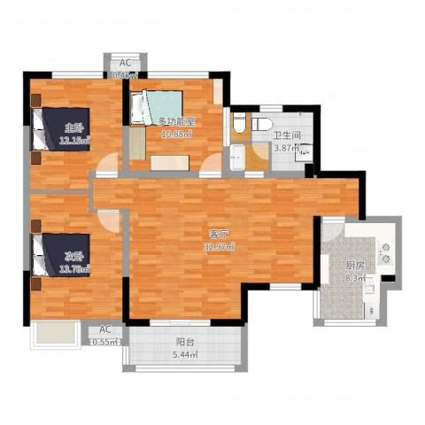 军安卫士花园2室1厅2卫2厨113.00㎡户型图