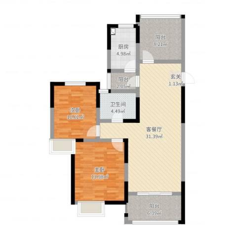 梧桐香郡2室2厅1卫1厨103.00㎡户型图
