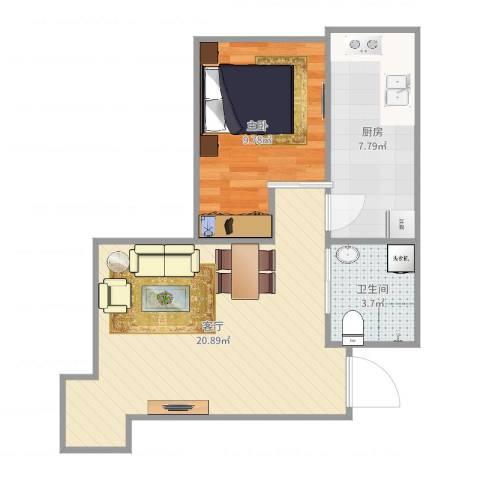旧宫新苑南区1室1厅1卫1厨53.00㎡户型图