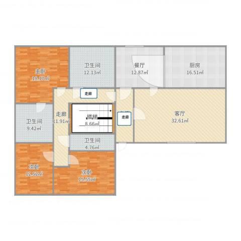 兴盛街189号院3室2厅3卫1厨202.00㎡户型图