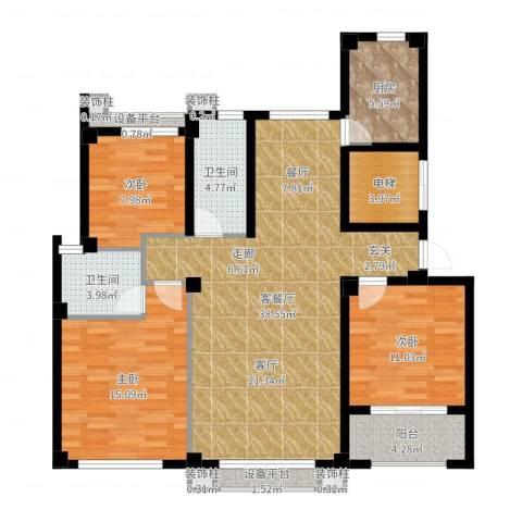 逸水园3室2厅2卫1厨98.52㎡户型图