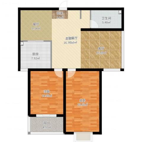 水木清华苑2室2厅1卫1厨119.00㎡户型图