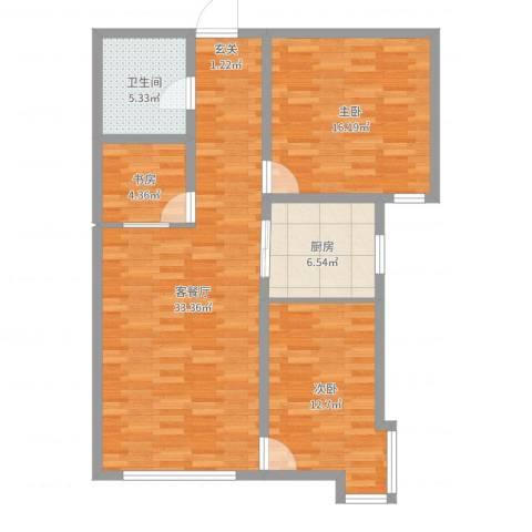 海旺家园二期3室2厅1卫1厨98.00㎡户型图