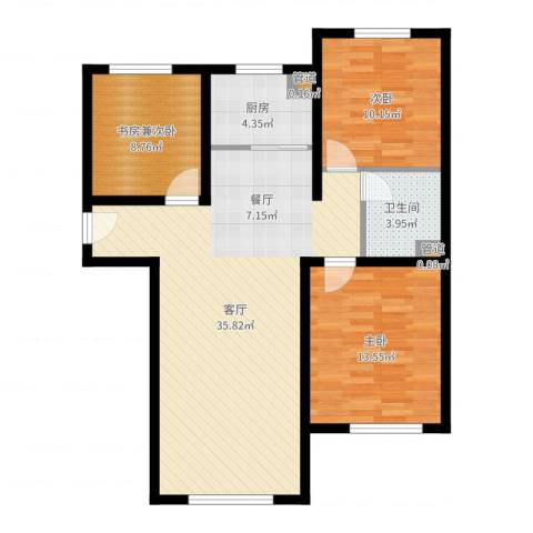 K2京西狮子城2室1厅1卫1厨96.00㎡户型图