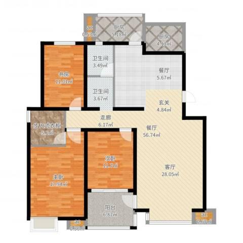 凤凰花园3室1厅1卫2厨155.00㎡户型图