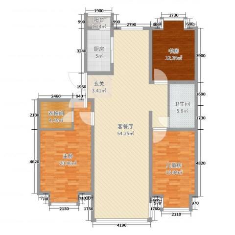 巨海城八区3室2厅1卫1厨154.00㎡户型图